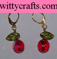 make beaded earrings, apple earrings, jewelry making tutorial