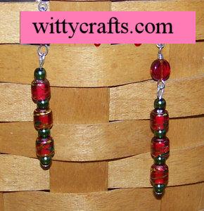 Christmas Dangle Bead Earrings