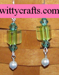 American Cane Glass and Crystal Beaded Earrings