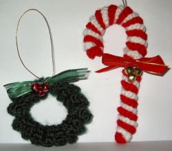 free crochet patten christmas ornament candy cane