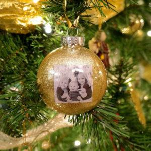 glitter ball photo christmas tree ornament