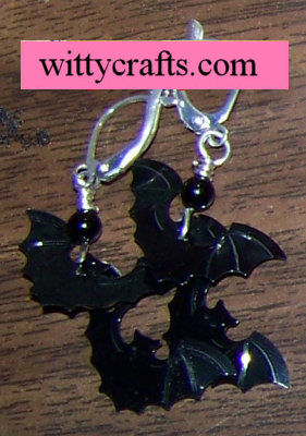 bat crafts, halloween beaded earrings