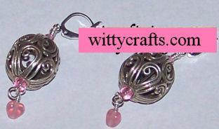 beaded heart earrings, pink hearts