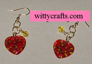 glass heart bead earrings