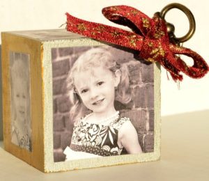 block photo christmas tree ornament