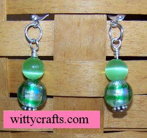cats eye beaded earrings to make