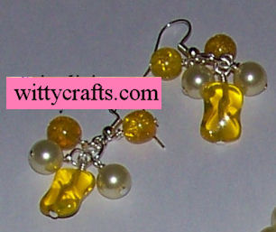 fun yellow beaded earring tutorial