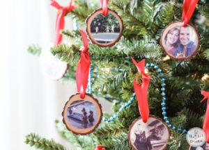 wood slices photo christmas tree ornament