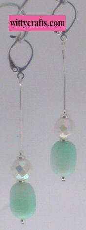 aqua pearl beaded earrings tutorial