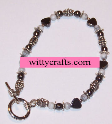 howlite beaded bracelet project, hemitite beaded bracelet project, heart shaped beads