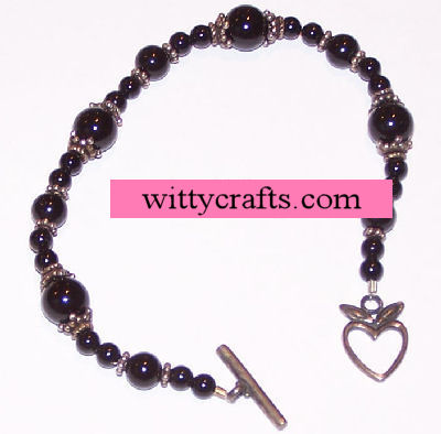 Black Onyx and Bali Beaded Bracelet