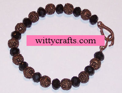 copper black crystals, beaded bracelet
