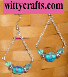 beaded earring tutorial, blue and chain earrings
