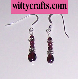 make garnet bead earrings