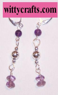 Silver Amethyst Drops Beaded Earrings – Free Bead Project