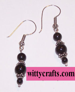 make black onyx bead earrings