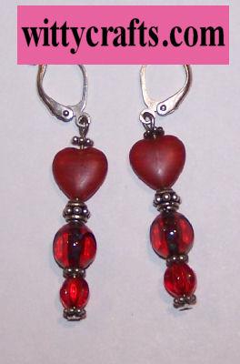 Red Heart Dangles Beaded Earrings – Free Bead Project