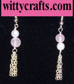 rose quartz beaded earrings