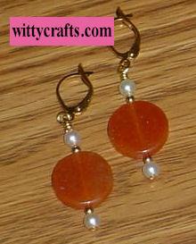 carneilian beaded earrings, beaded earring tutorial