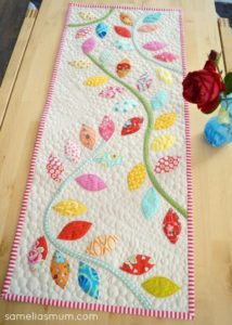 free quilting patter tabler runner topper flower buds