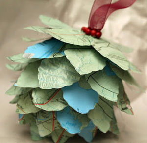 map pine cone christmas ornament to make